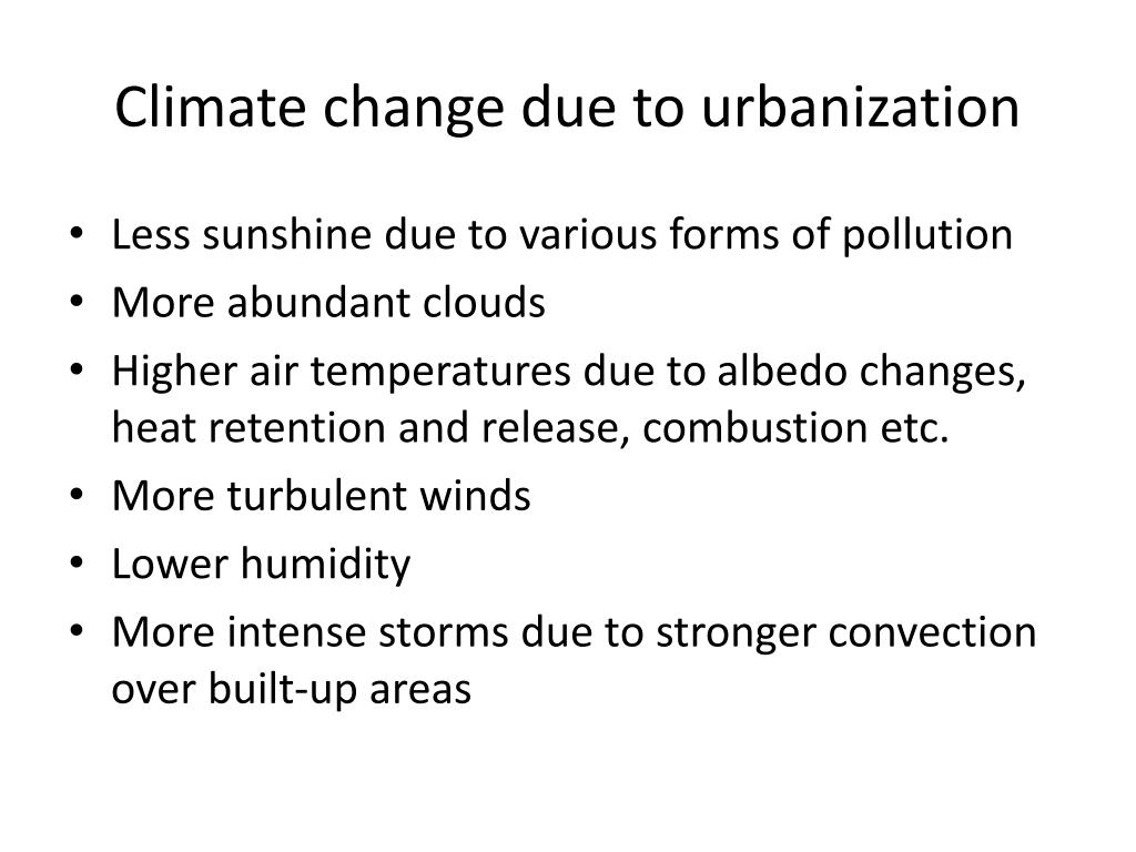 Climate change due to urbanization