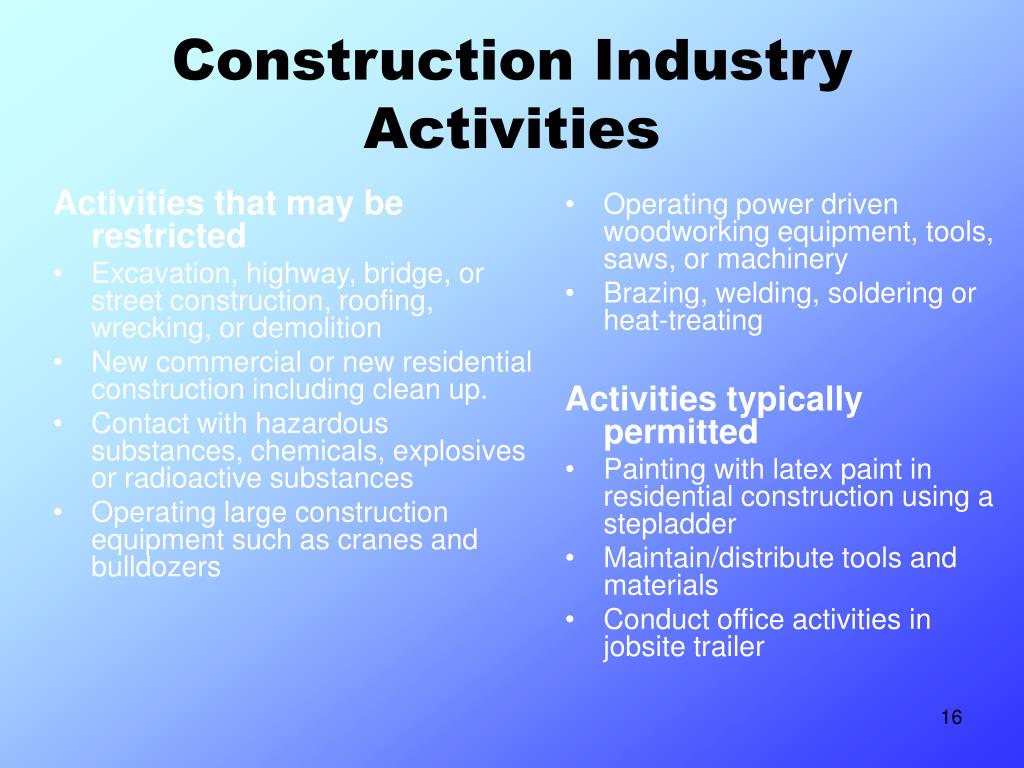 Activities that may be restricted