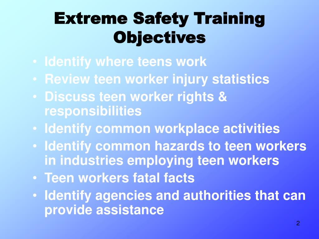 Extreme Safety Training Objectives