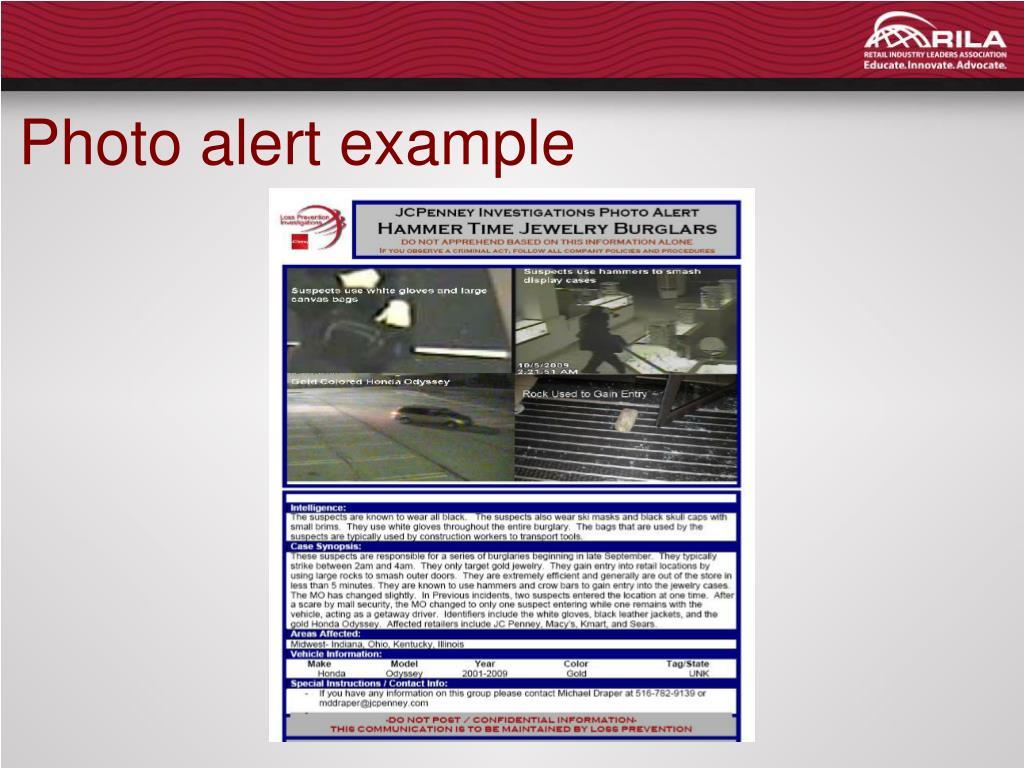 Photo alert example