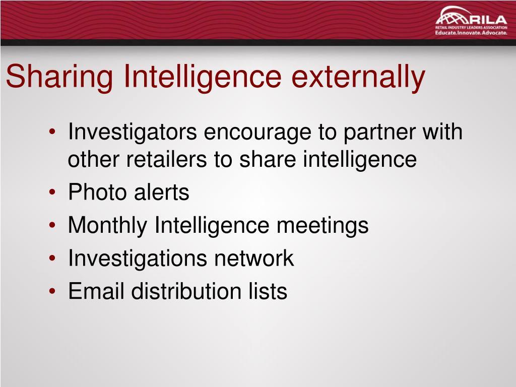 Sharing Intelligence externally