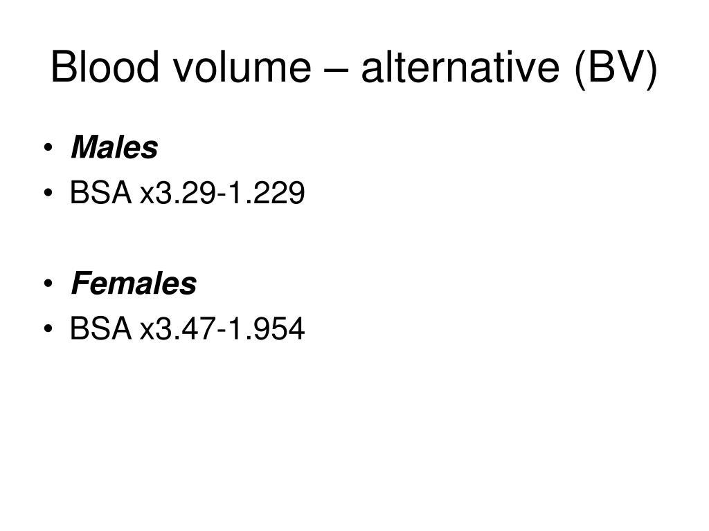 Blood volume – alternative (BV)