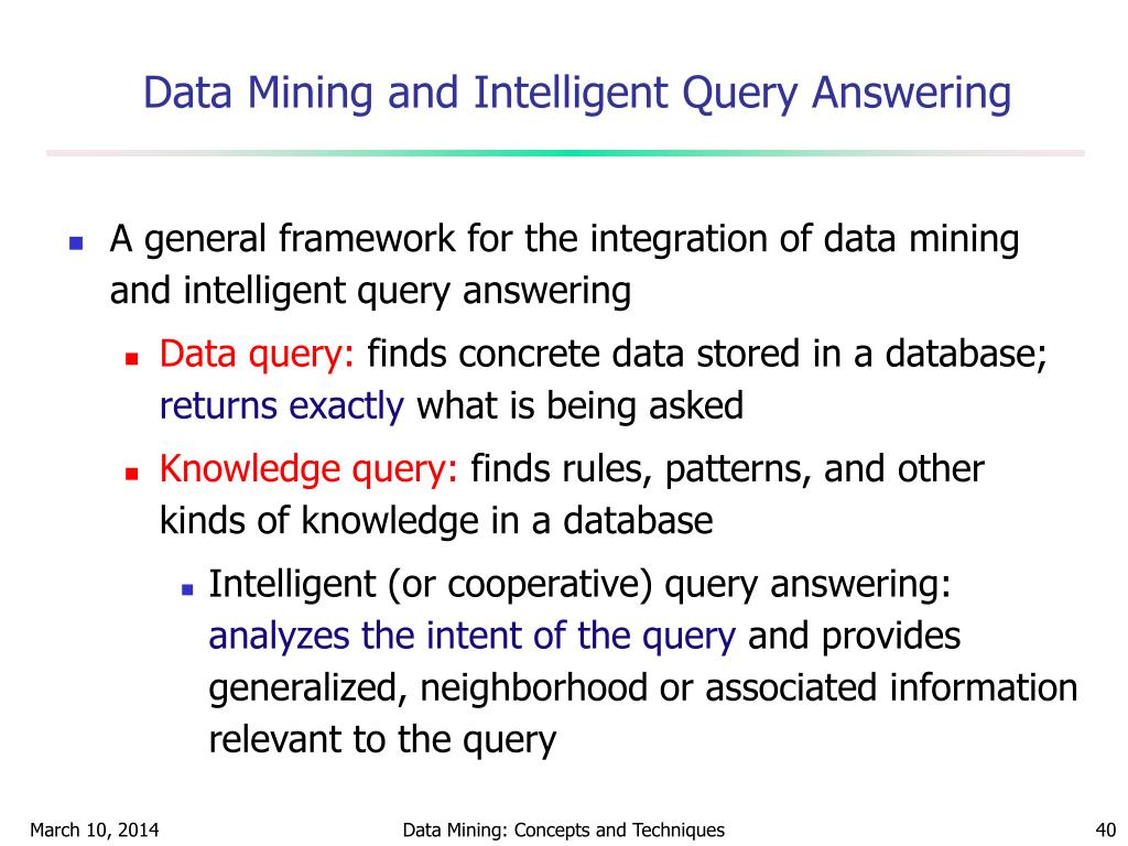 Data Mining and Intelligent Query Answering