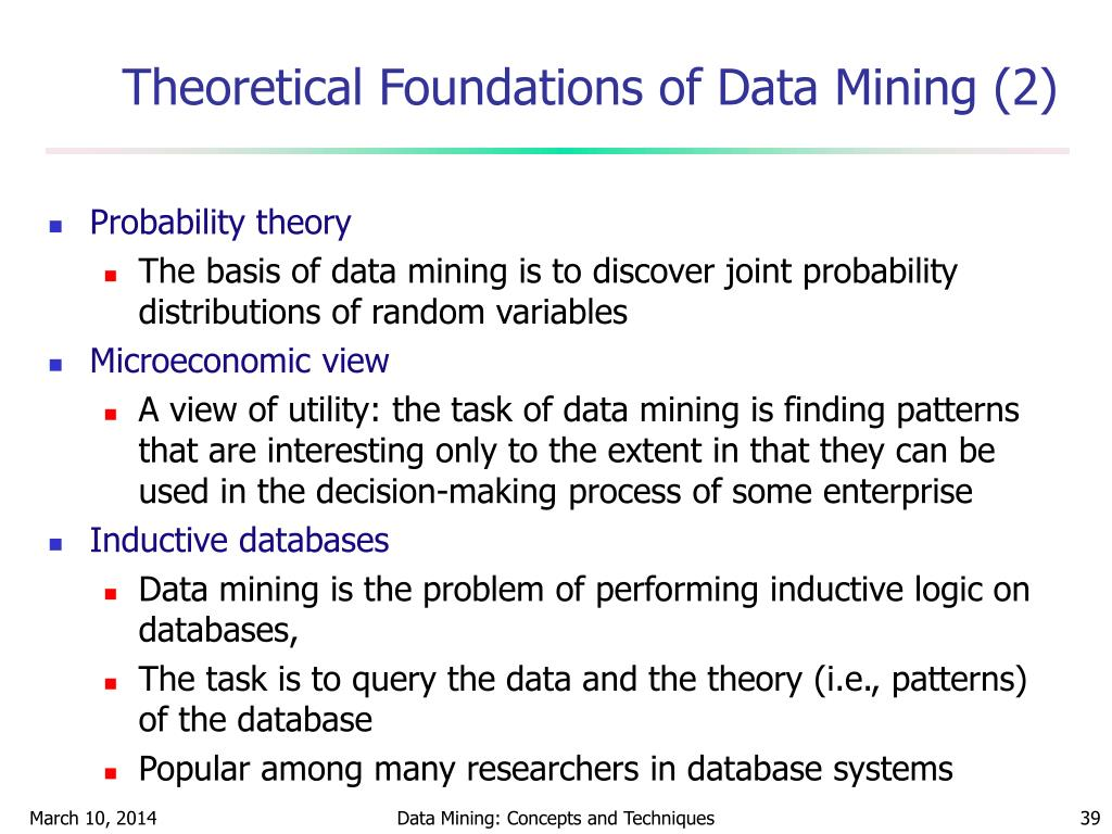 Theoretical Foundations of Data Mining (2)