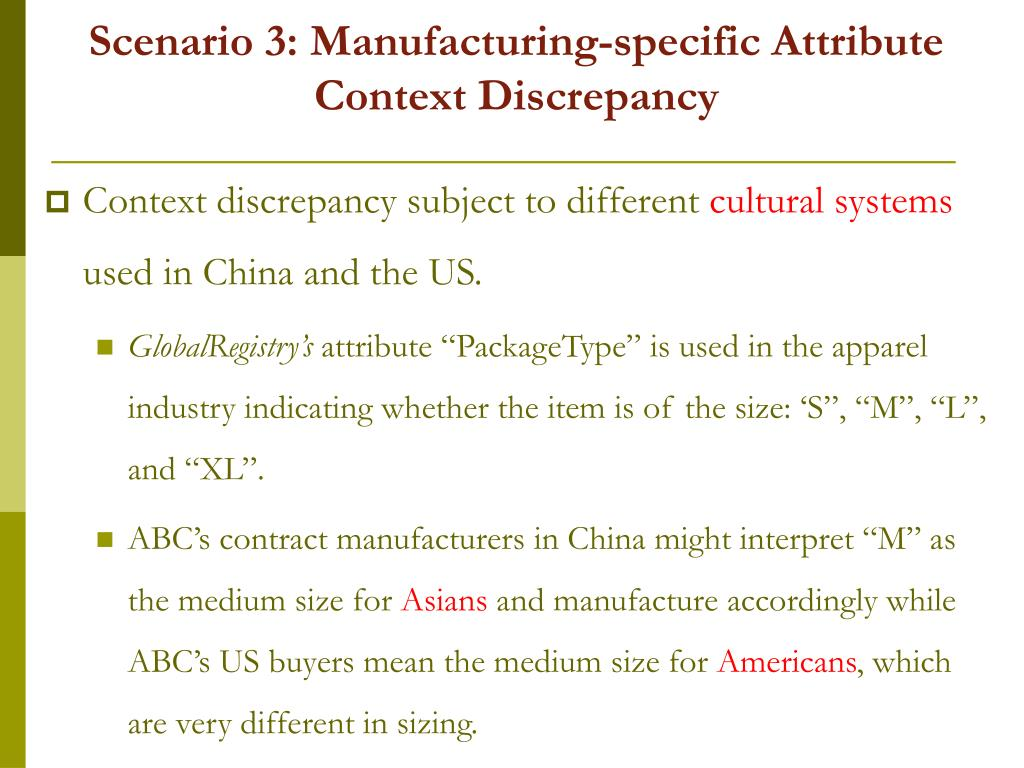 Scenario 3: Manufacturing-specific Attribute