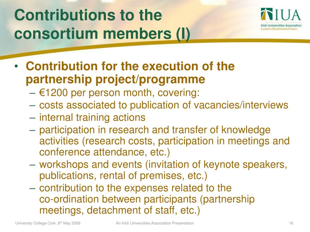 Contribution for the execution of the partnership project/programme
