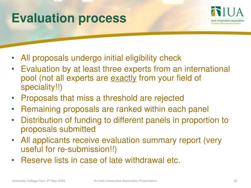 All proposals undergo initial eligibility check