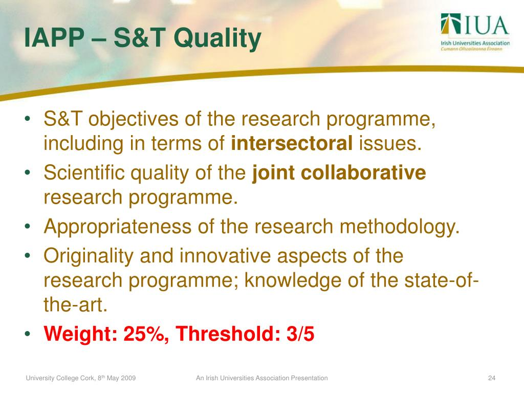 S&T objectives of the research programme, including in terms of
