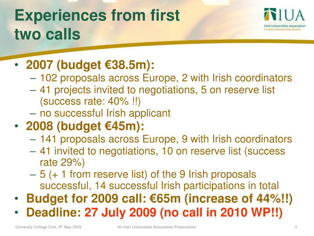 2007 (budget €38.5m):