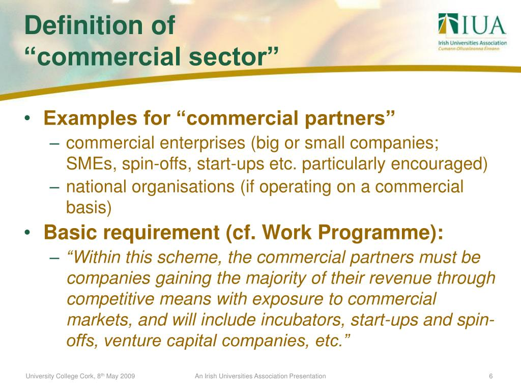 "Examples for ""commercial partners"""
