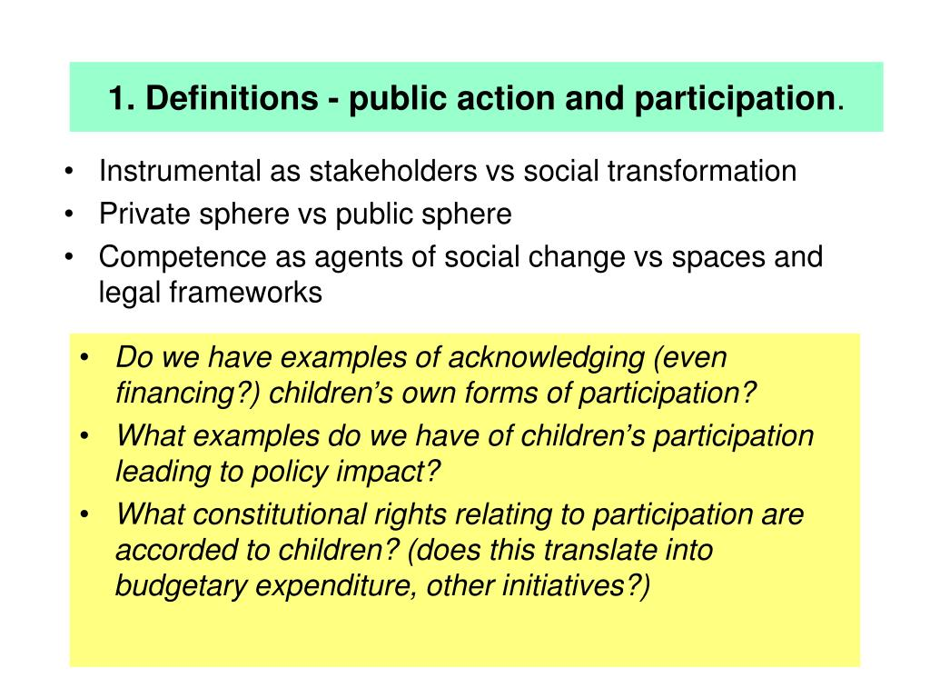1. Definitions - public action and participation