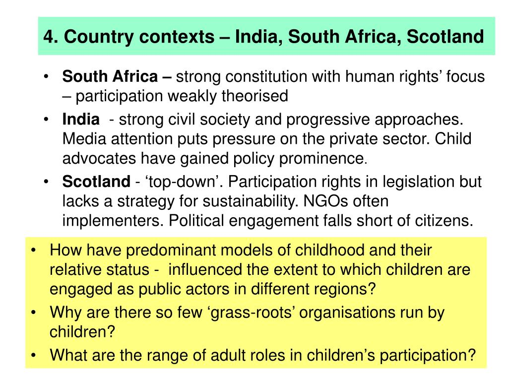 4. Country contexts – India, South Africa, Scotland
