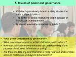 5 issues of power and governance