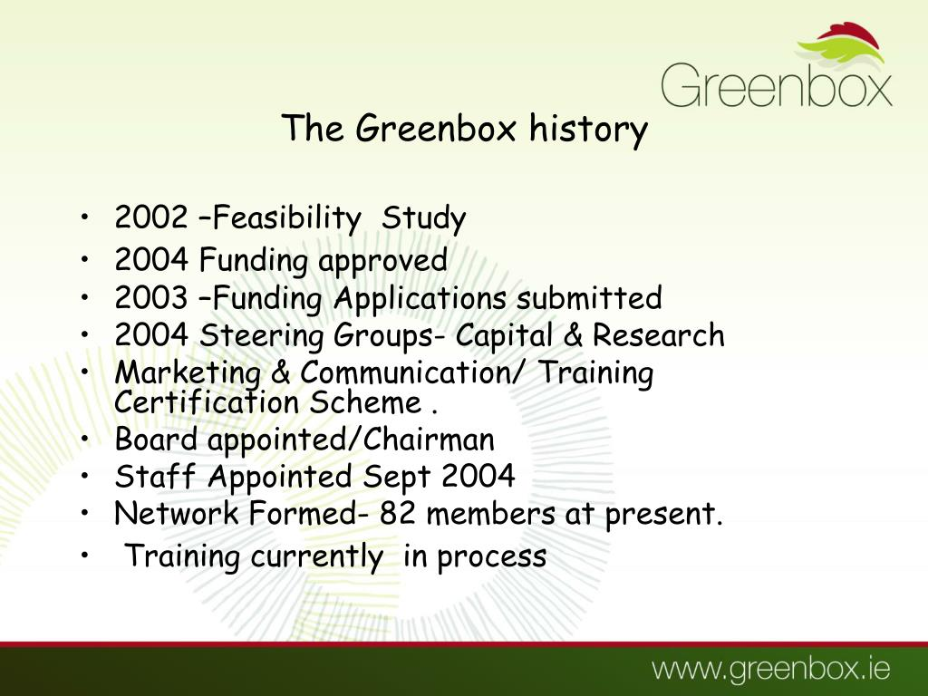 The Greenbox history