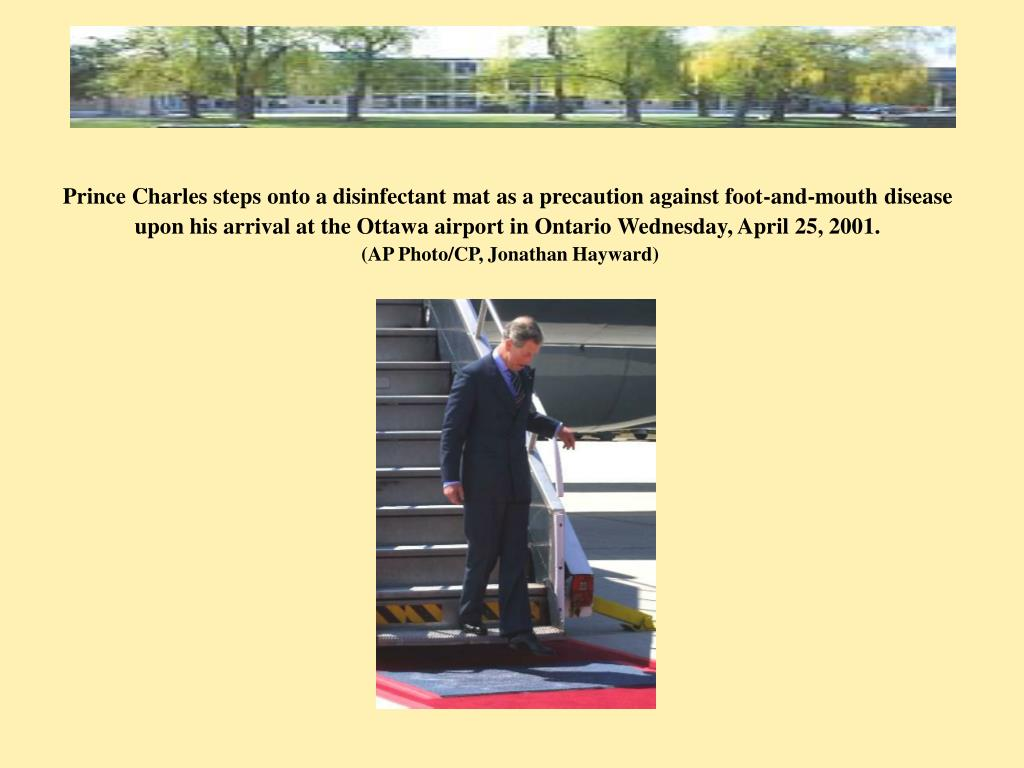 Prince Charles steps onto a disinfectant mat as a precaution against foot-and-mouth disease