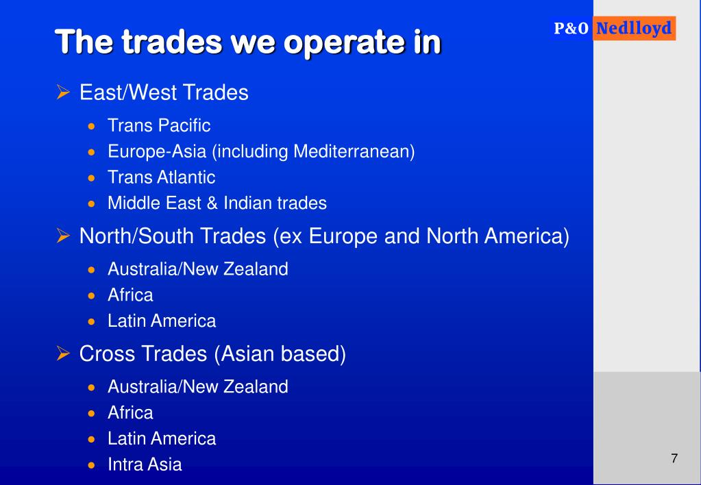 The trades we operate in