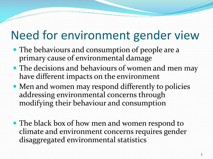 Need for environment gender view