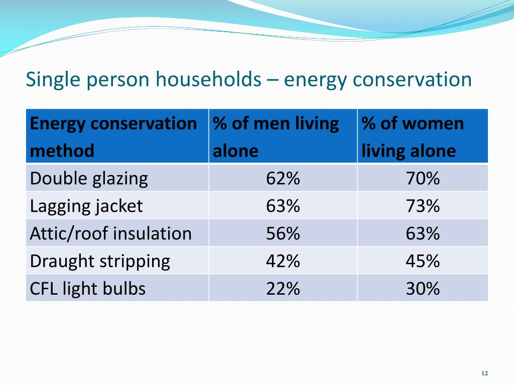 Single person households – energy conservation