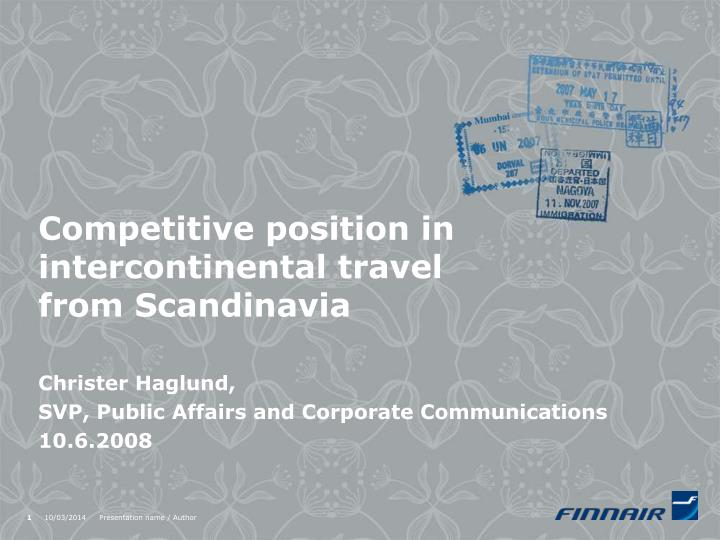 Competitive position in intercontinental travel from scandinavia