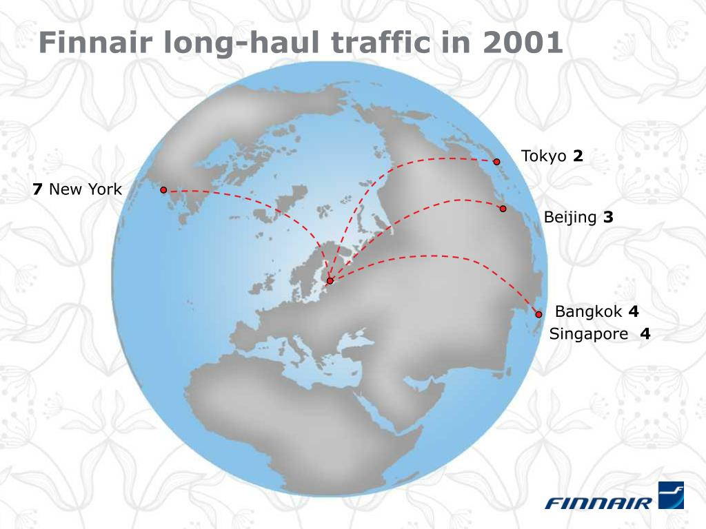 Finnair long-haul traffic in 2001