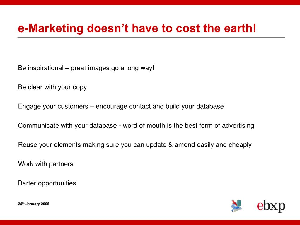 e-Marketing doesn't have to cost the earth!
