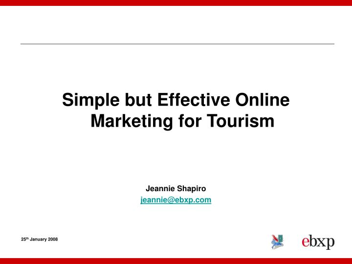 Simple but Effective Online Marketing for Tourism