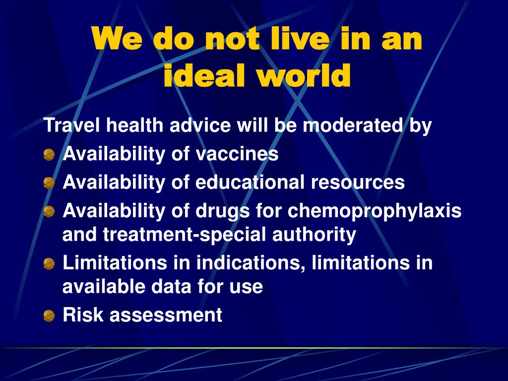 We do not live in an ideal world