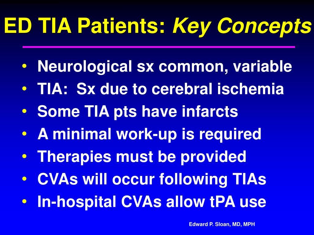 ED TIA Patients: