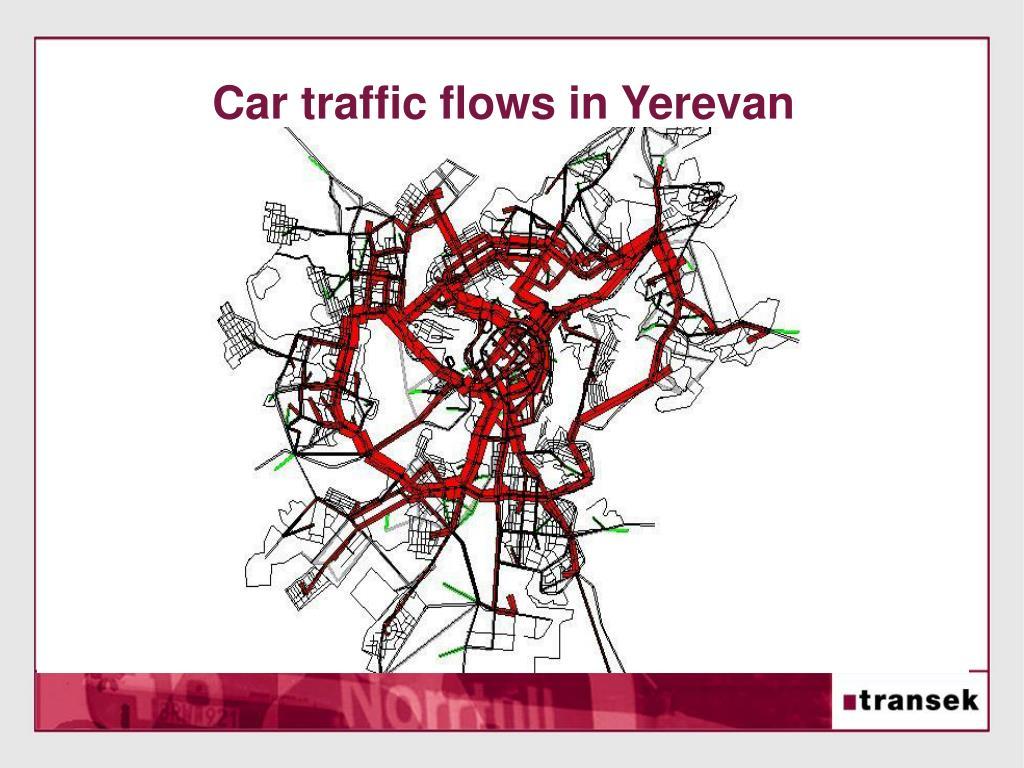Car traffic flows in Yerevan