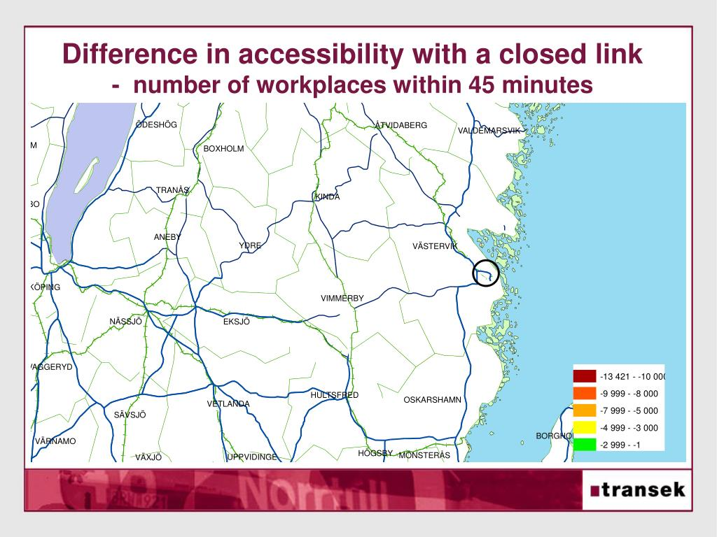 Difference in accessibility with a closed link