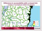 difference in accessibility with a closed link number of workplaces within 45 minutes