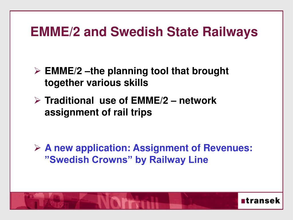 EMME/2 and Swedish State Railways