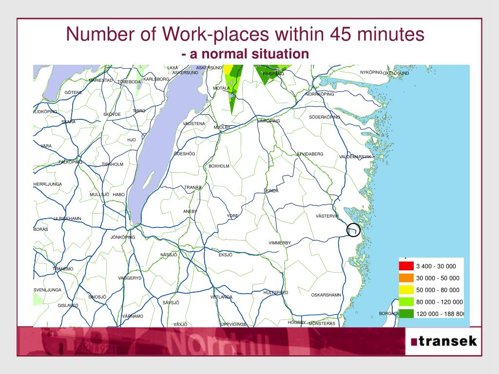 Number of Work-places within 45 minutes