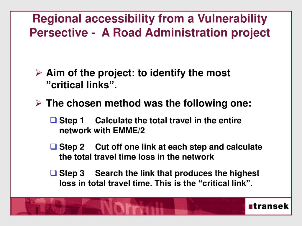 Regional accessibility from a Vulnerability Persective -  A Road Administration project