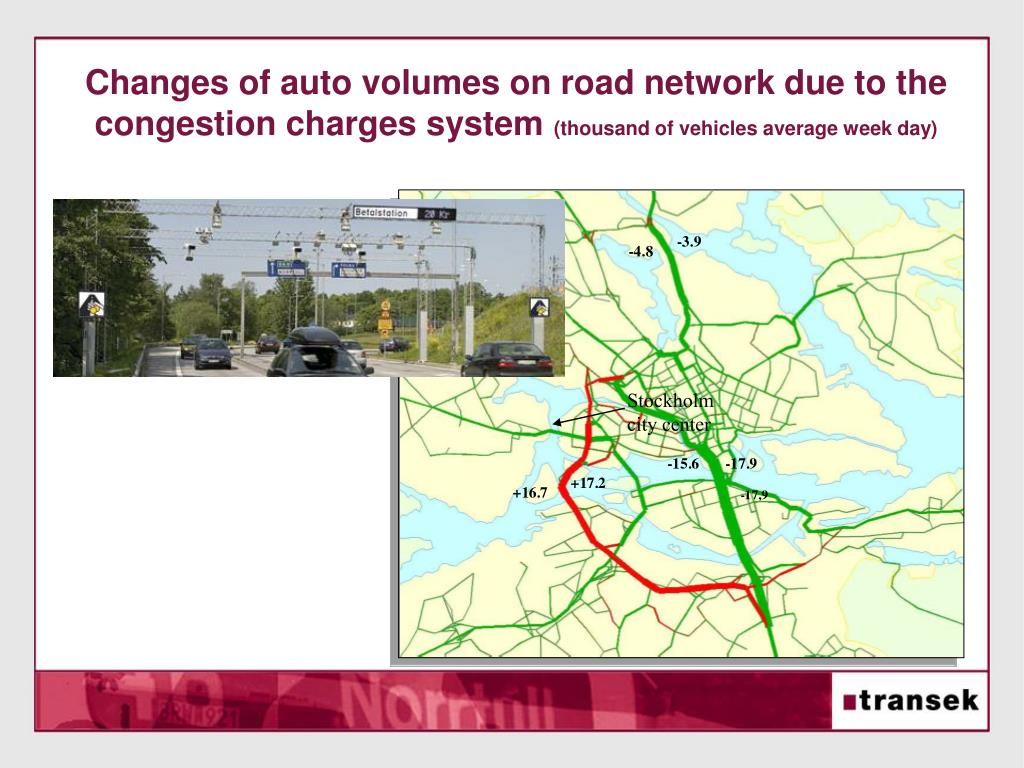 Changes of auto volumes on road network due to the congestion charges system