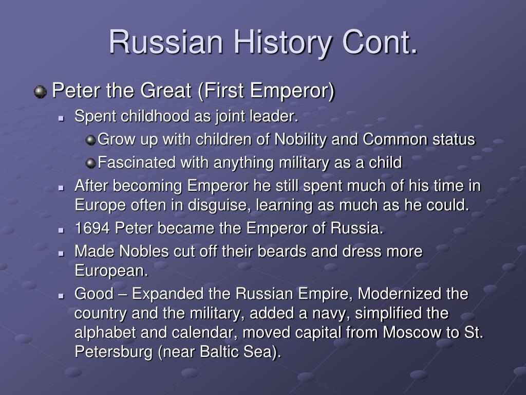 Russian History Cont.