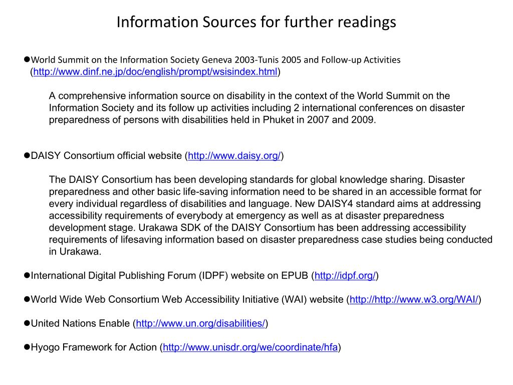 Information Sources for further readings