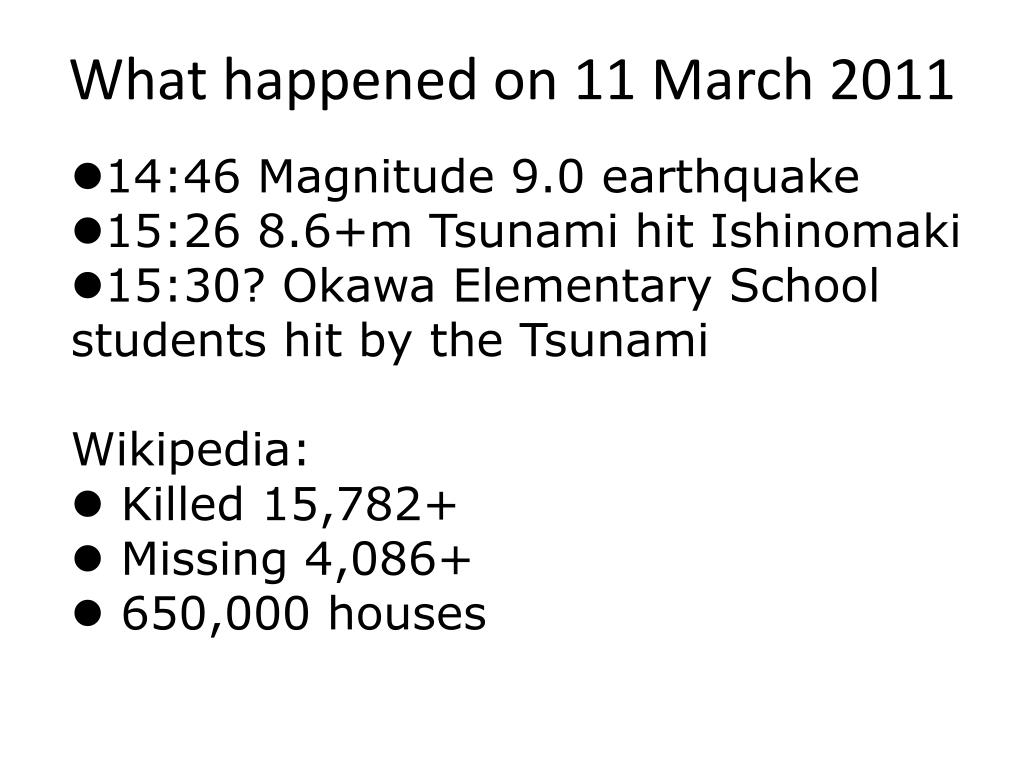 What happened on 11 March 2011