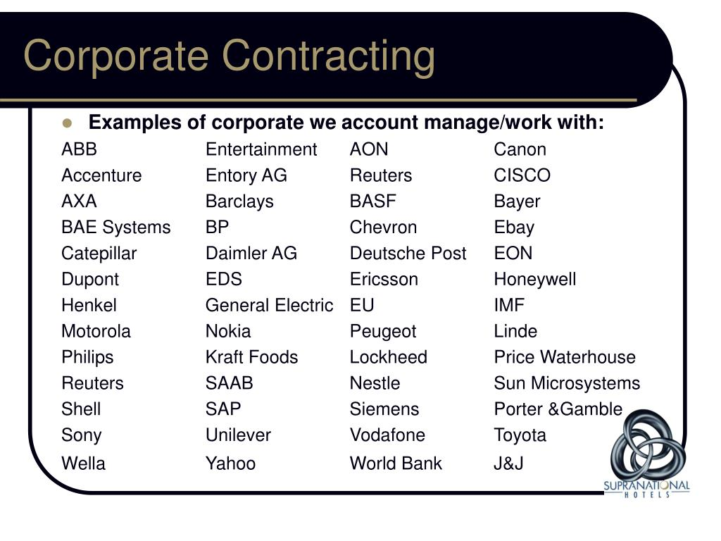Corporate Contracting