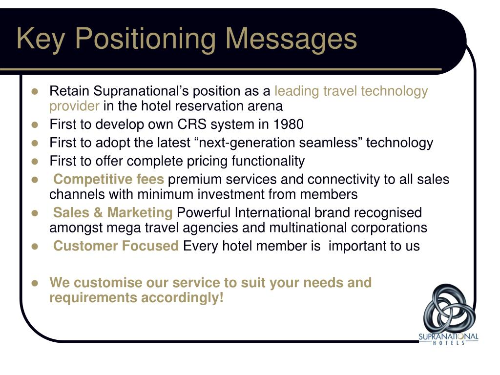 Key Positioning Messages