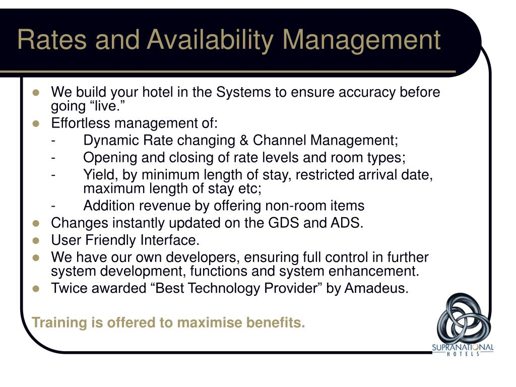 Rates and Availability Management