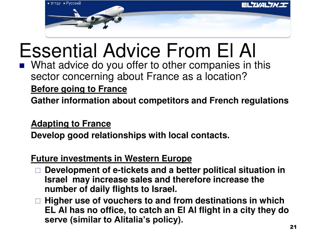 Essential Advice From El Al