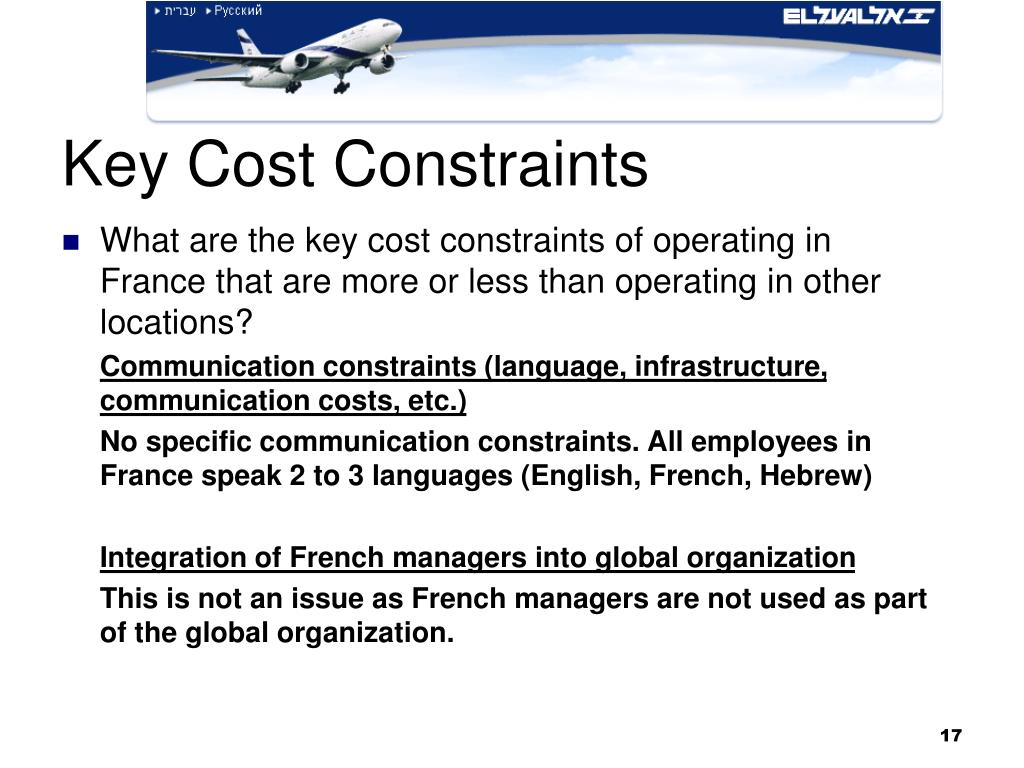 Key Cost Constraints