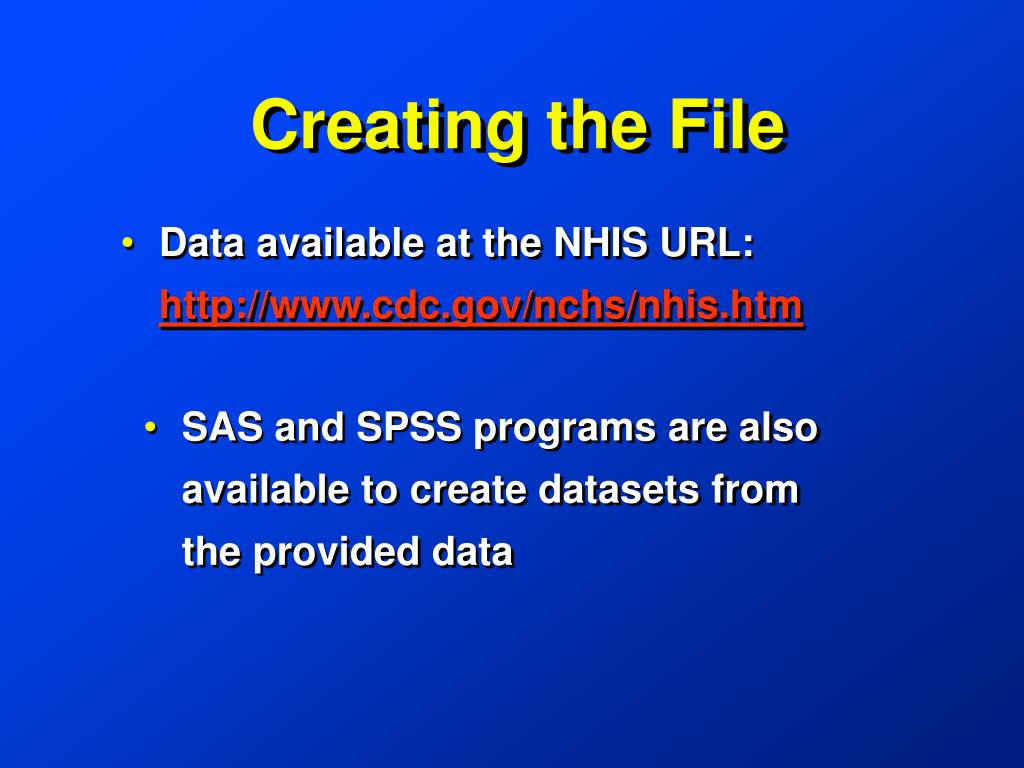 Data available at the NHIS URL: