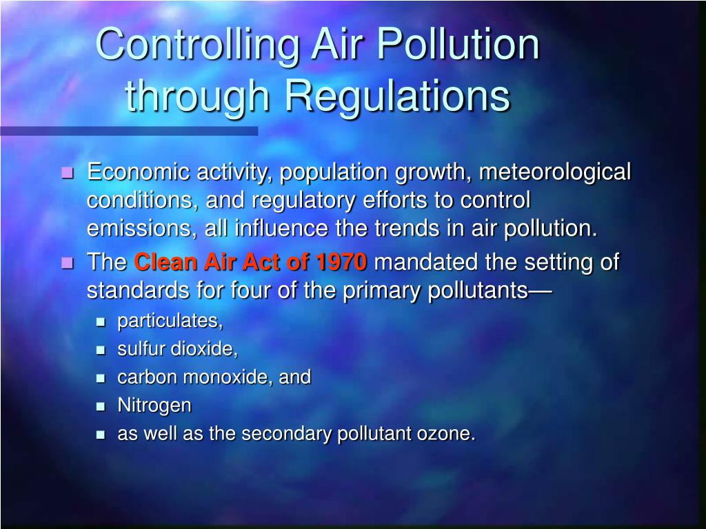 Controlling Air Pollution through Regulations