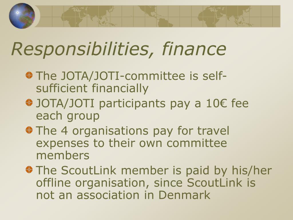 Responsibilities, finance