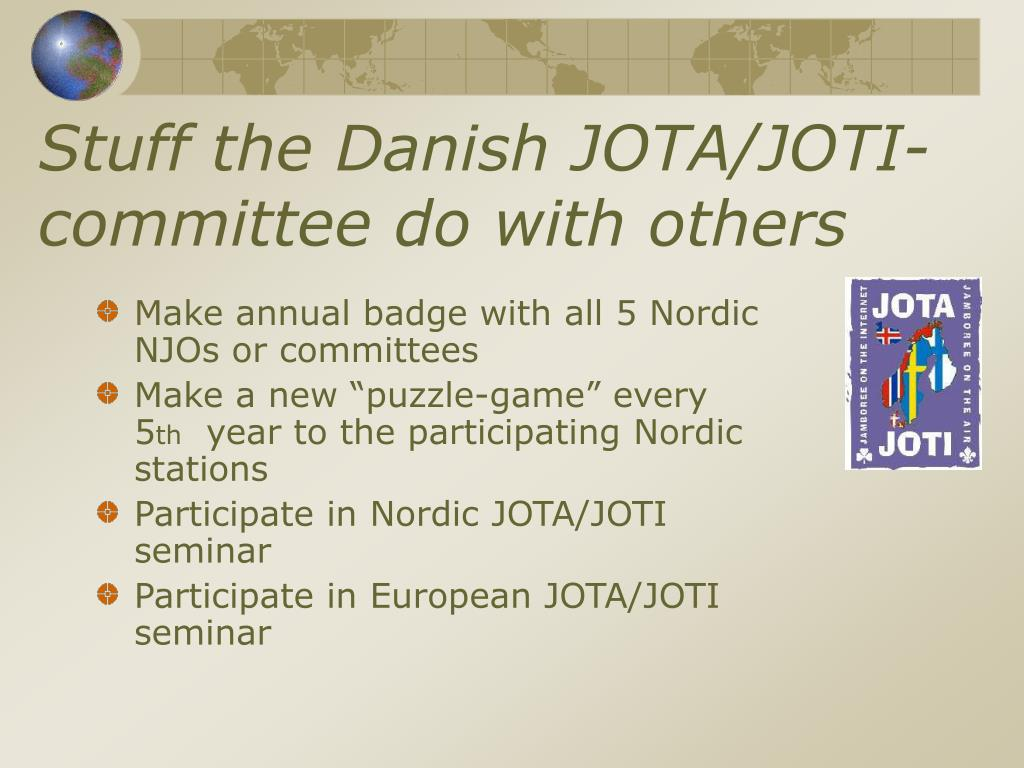 Stuff the Danish JOTA/JOTI-committee do with others