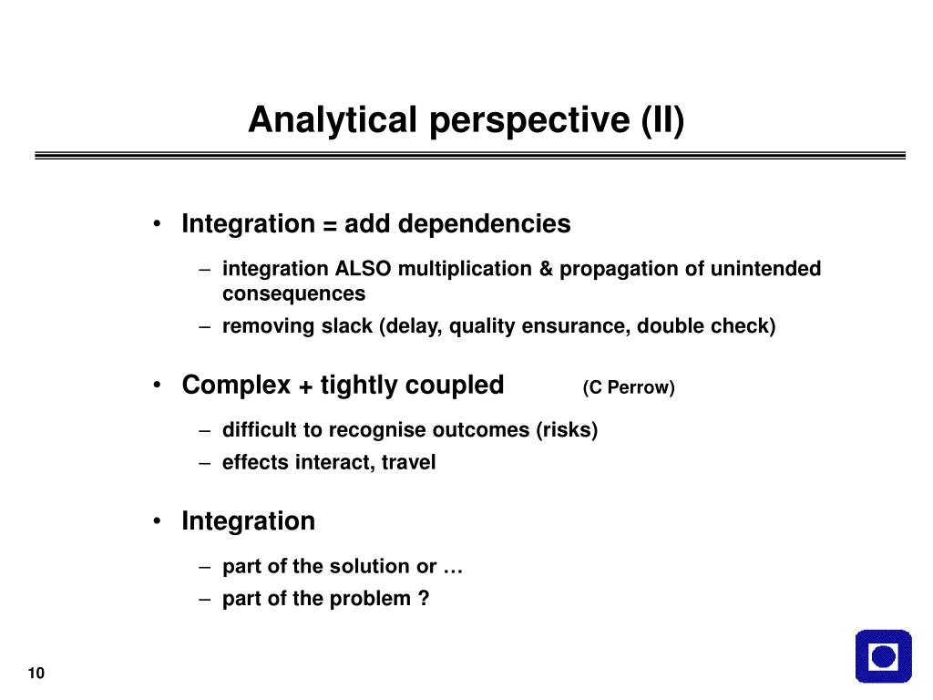 Analytical perspective (II)