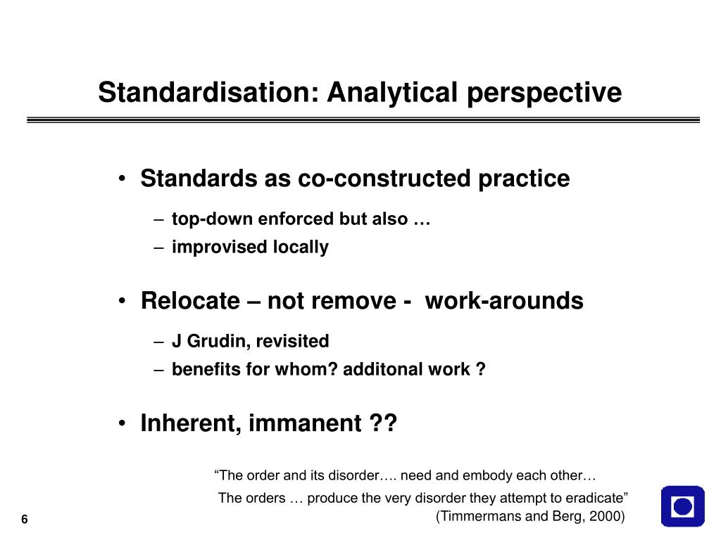 Standardisation: Analytical perspective