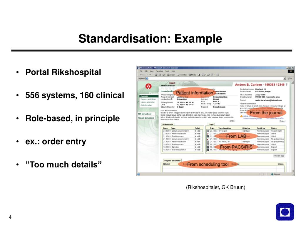 Standardisation: Example